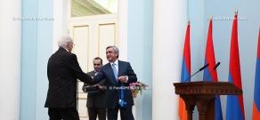 RA President Serzh Sargsyan  grants presidential awards to the chairman of Lake Sevan Issues Committee Vladimir Movsisyan