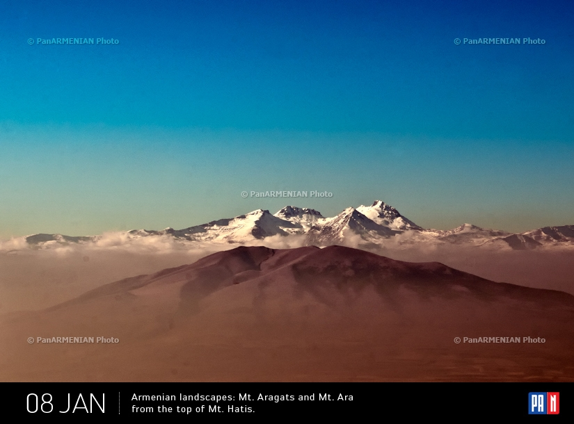 Mt. Aragats and Mt. Ara from the top of Mt. Hatis. One of 20 photos, which was presented in charity auction, organized by UNICEF, Honorary council of Slovak Republic and PAN Photo