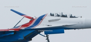 Exclusive show by Russian Knights aviation group at Erebuni military airport