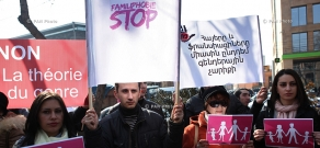 Picket in front of French embassy in support of family values
