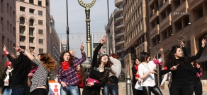 Dance flashmob of femen activists in the framework of V-Day and 1 Billion Rising