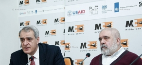 Press conference of head of the Caucasus Institute Alexander Iskandaryan and  head of the Consent center David Shahnazaryan
