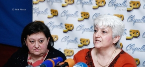 Press conference of head of the Guild of Armenian Guides Lia Bakhshinyan and chairman of Union of Industrialists and Entrepreneurs Inga Sargyan