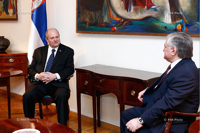 RA Minister of Foreign Affairs Edward Nalbandyan receives Serbian Foreign Minister Ivan Mrkić