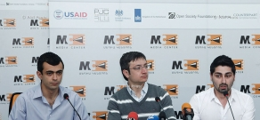 Press conference of I Am Against Initiative members David Manukyan, Artash Arabajyan and Gevorg Gorgisyan