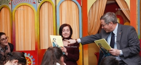 "U.S. Ambassador John Heffern and Armenian actress Varduhi Varderesyan attend presentation of children's book ""Clara Barton: Our Angel, Too"""