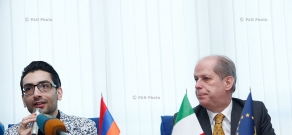 Press conference of newly appointed Italian ambassador Giovanni Ricciulli and Armenian pianist Hayk Melikyan