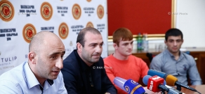 Press conference of Armenia's national freestyle wrestling coach Arayik Baghdasaryan, Bazmaser Arakelyan and wrestlers