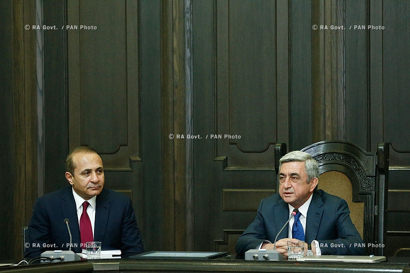RA president Serzh Sargsyan introduced newly appointed Prime Minister Hovik Abrahamyan to the members of the RA Government