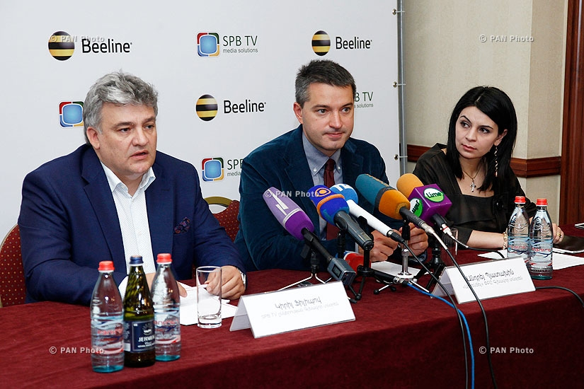 Press conference of ArmenTel's CEO Andrey Pyatakhin and SPB TV CEO Kirill Filippov