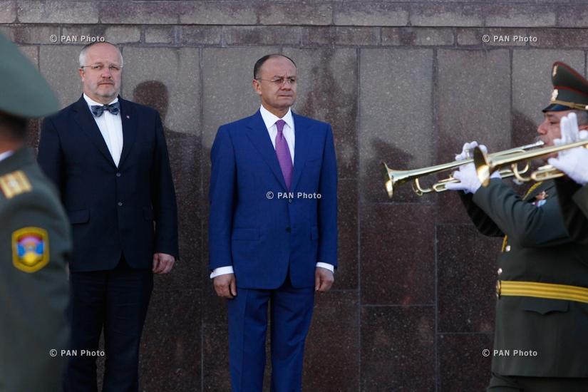 Լիտվայի ազգային պաշտպանության նախարար Յուոզաս Օլեկասի գլխավորած պատվիրակության դիմավորումը
