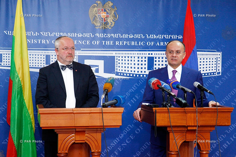 Joint press conference of Armenian Defense Minister Seyran Ohanyan and Lithuanian Minister of National Defense Juozas Olekas