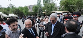 A protest rally toward Russian Embassy against Armenia's joining the Customs Union