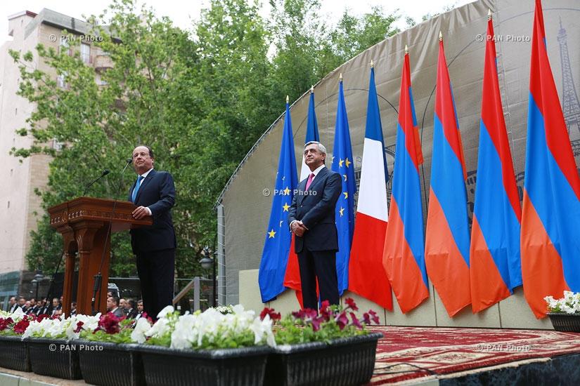 Armenian president Serzh Sargsyan and French president François Hollande attend opening of park after Missak Manouchian