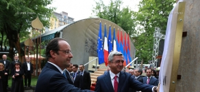 Armenian president Serzh Sargsyan and French president François Hollande attend opening of park after Missak Manouchian