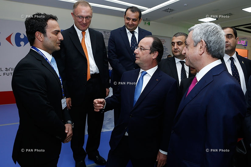 Armenina and French Presidents visit construction site of Carrefour market