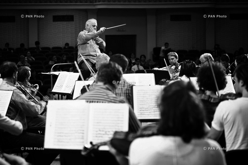 Rehearsal, backstage and concert of Berlin Staatskapelle with conductor Daniel Barenboim