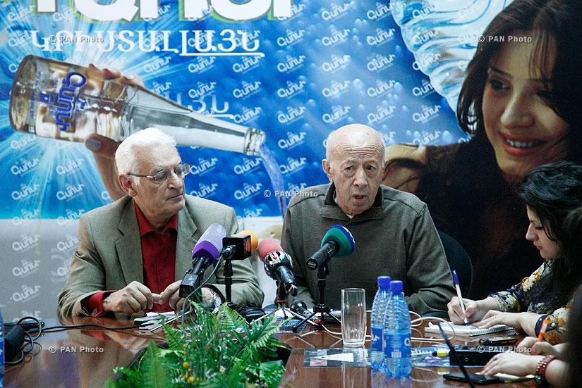 «Հրազդան» մարզահամերգային համալիրի ճարտարապետական նախագծի համահեղինակ Գուրգեն Մուշեղյանի և ճարտարապետ Սաշուր Քալաշյանի մամուլի ասուլիսը
