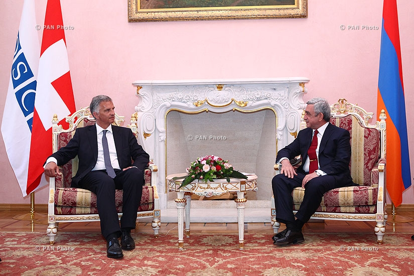 Armenian President Serzh Sargsyan receives President of Switzerland, OSCE Chairperson-in-Office Didier Burkhalter