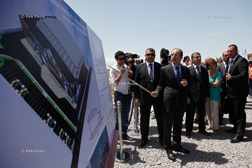 Armenian President Serzh Sargsyan participates in the groundbreaking ceremony of a new figure skating school