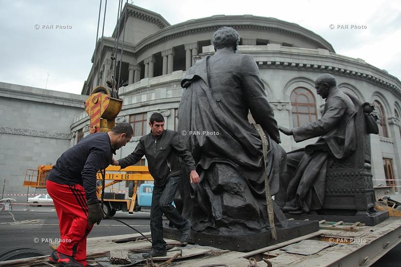 Թումանյանի և Սպենդիարյանի արձանների վերատեղադրումը Ազատության հրապարակում