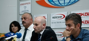 Press conference of Mekhak Apresyan, Sedrak Mamulyan, Svetlana Poghosyan and Vardan Hakobyan