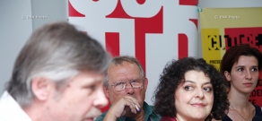 Press conference of Pavel Potorochin, Richard Peña, Adam Michnik and Svetlana Harutyunyan. 11th Golden Apricot Film Festival