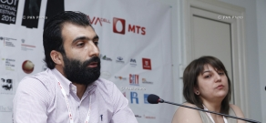 Press conference or filmmakers Jivan Avetisyan and Lusine Sargsyan, 11th Golden Apricot Film Festival