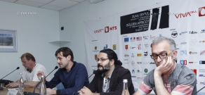 Press conference of Ruben Giney, Ivan Tverdovsky and Arman Yeritsyan. 11th Golden Apricot Film Festival