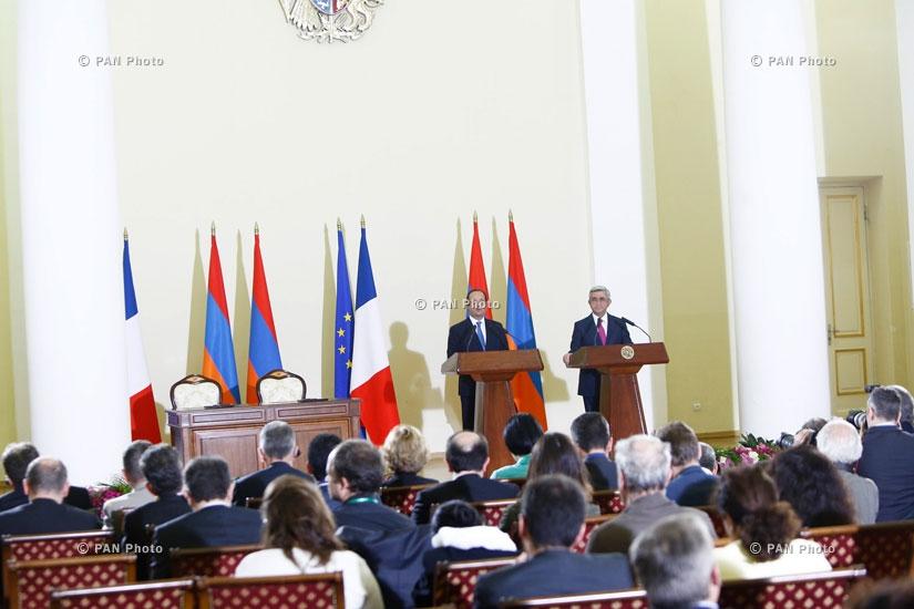 Совместная пресс-конференция Президента Армении Сержа Саркисяна и Президента Франции Франсуа Олланда