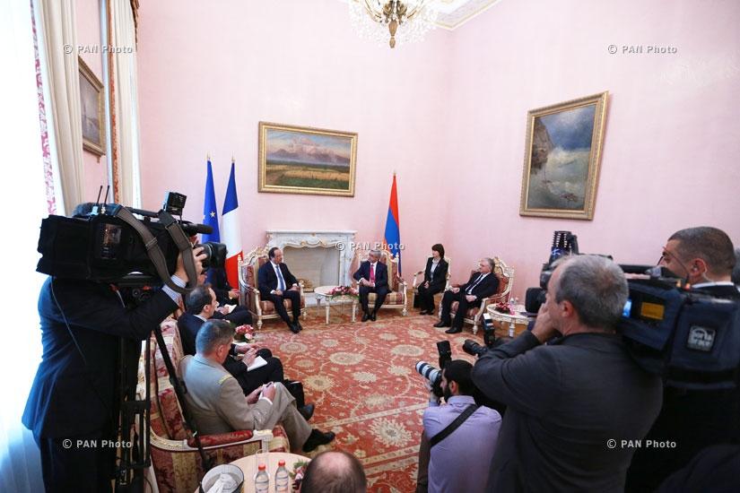 Президент Армении Серж Сакисян принял президента Франции Франсуа Олланда