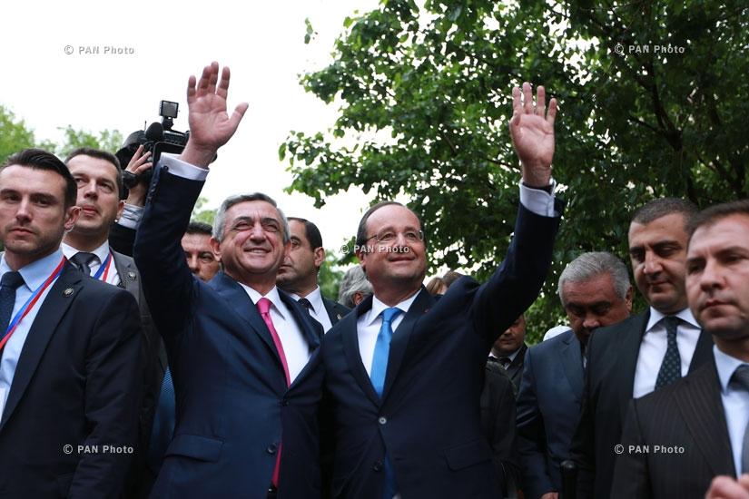 Президент Армении Серж Саркисян и Президент Франции Франсуа Олланд приняли участие в открытии парка имени национального героя Франции, поэта Мисака Манушяна