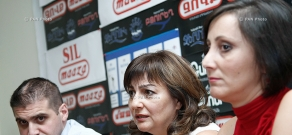 Press conference of editors Arman Babajanyan and Armine Ohanyan