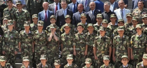 Artsakh war veterans' children and young yerkrapahs in National Assembly yard