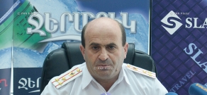Press conference of RA Police Road Patrol Department head, colonel Norik Sargsyan