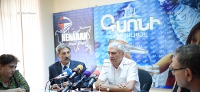 Press conference of Deputy Director of RA MES Rescue Service Nikolay Grigoryan and Civil Protection Without Borders organization Chairman Bernard Jannin