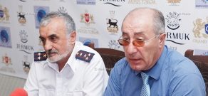 Press conference of the Advisor to Minister of Emergency Situations Andranik Hakobyan and  rector of Crises Management Institute of MES colonel of resque service Hamlet Matevosyan