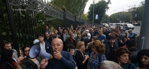 Traders of Yerevan protest outside Armenian parliament