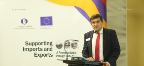 """The EBRD's National Programme Manager, Small Business Support team, Tigran Aghabekyan, made a presentation on """"Know How: From Advice to Access to Finance"""""""