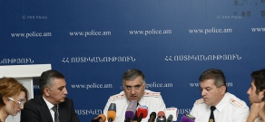 Press conference of Vardan Badasyan, first deputy chief of RA police, Colonel Vardan Badasyan