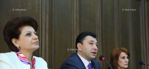 Press conference of Eduard Sharmazanov, Heghine Bisharyan and Karine Achemyan