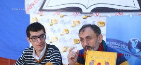 Press conference of the president of 'Antares' Media Holding Armen Martirosyan and literary critic  Arkemnik Nikoghosyan