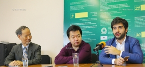 Press conference of Chinese violinist Fen Nin, composer Fu Tong Wong and chief conductor of State Youth Orchestra of Armenia Sergey Smbatyan