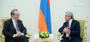 Newly appointed ambassador of Belgium to Armenia Alex Van Meuwen hands his credentials to RA president Serzh Sargsyan