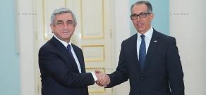 Ambassador of Uruguay to Armenia Juan Carlos Ojeda hands his credentials to RA president Serzh Sargsyan