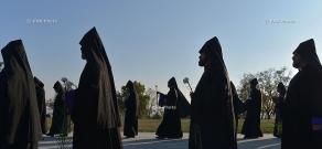 Karekin II and Aram I visit Tsitsernakaberd during the Bishops' Synod in Armenia