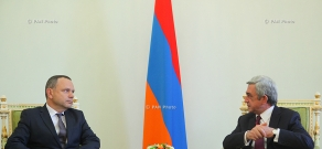 Newly appointed French Ambassador to Armenia Jean-François Charpentier hands his credentials to RA president Serzh Sargsyan