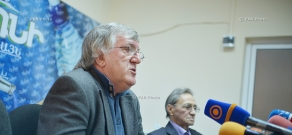 Press conference of football players Arkady Andreasyan and Eduard Markarov
