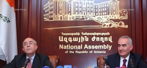 Joint press conference of Armenian parliament speaker Galust Sahakyan and President of House of Representatives of Cyprus Yiannakis Omirou