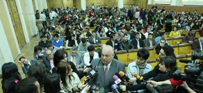 YSU rector Aram Simonyan meets journalists during 90th anniversary of YSU